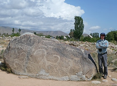 Petroglyphs (LeelooDallas) Tags: asia kyrgyzstan cholponata petroglyph museum stone carving dana iwachow dragoman overland silk road trip august 2018 issyk kul lake steve