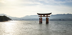 The Torii at high tide and sunset (fnks) Tags: asia japan tokyo hiroshima miyajima island sea trees ropeway shrines buddhism temples ferry sky deer beach tides tanterns water sunshine mountains