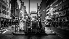 Checkpoint Charlie (joshdgeorge7) Tags: checkpoint berlin charlie americans actors acting blackandwhite contrast winter cold war russian germany gate canon city german
