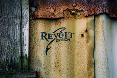 Revoit Division (Katrina Wright) Tags: dsc3214edit revoit logo rust metal texture colour contrast revoitdivision granvilleisland nails weathered worn hss