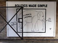 Street Art, Norwich, Norfolk, UK (mira66) Tags: art street graffiti elephant room politics wall norwich pottergate eastanglia climatechange