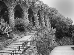 Park Guell (Barcelona) (fnks) Tags: stairs building town capital black white city nature concrete wood caret metal historyncountry europe asia island hotel bookshop clouds sky spain holland germany england indonesia japan portugal çzech republic turkey hong kongitaly usa belgium azores