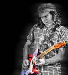 Turn Up the Volume .... (daystar297) Tags: portrait musician music jazz blues guitar performance bnw manipulation photoshop nikon
