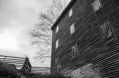 The Old Mill (aaron_gould) Tags: clouds sky blackandwhite trees bw outside barn monochrome park mill nikkor d7000 old oldandbeautiful