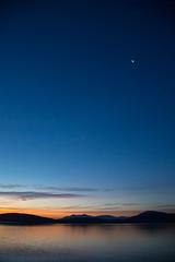 Sunrise and crescent moon over Karemar Cove (El Cajon) Tags: karemar orcas moon sunrise crescent blue