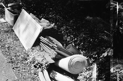 Hard rubbish (photo 2) (Matthew Paul Argall) Tags: beirettevsn manualfocus 35mmfilm blackandwhite blackandwhitefilm kentmere100 100isofilm trash garbage rubbish junk doh