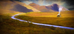 Rain In The Hills (jarr1520) Tags: landscape outdoor valley fields sky clouds rain hills mountains road house birds home building light composite textured