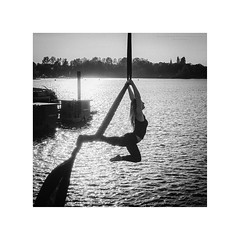 Aerial Silk (Passie13(Ines van Megen-Thijssen)) Tags: aerialsilk netherlands blackandwhite bw sw zw zwartwit woman sport monochroom monochrome monochrom canon sigma35mmart inesvanmegen inesvanmegenthijssen