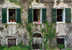 Is anybody home? (Jocelyn777) Tags: windows doorsandwindows facade buildings architecture stone stonehouses foliage plants historictowns towns villages kotor montenegro bakans travel