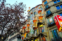 It is very difficult for me to pass by and not shoot here. (Fnikos) Tags: street building architecture wall decoration decor column door window balcony modernismo casabatlló gaudí sky tree nature color outdoor