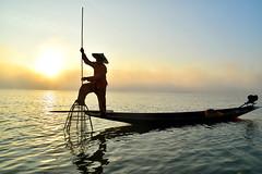 fishing, Inle lake (Neal J.Wilson) Tags: myanmar burma asia sunrise dawn sunset fisherman fishing fishingnets inle lake water travel travelling nikon traditional