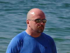 Shinehead (knightbefore_99) Tags: shinehead sunglasses bald beach playa plage oaxaca mexico mexican hot warm tropical blue dude candid funny goatee pale