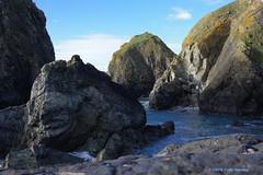 3K005506a_C (Kernowfile) Tags: pentax cornwall cornish cornishharbours harbour mullioncove rocks cliffs water sea foam waves birds gulls grass sky blue cloud