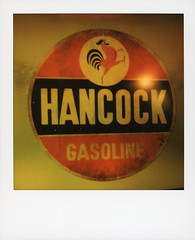 Hancock Gasoline (tobysx70) Tags: polaroid originals color 600 instant film slr680 hancock gasoline stone house cafe seatac airport c gates seattle washington wa antique old sign gas petrol oil company cock rooster bar restaurant toby photography