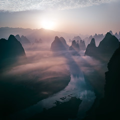 Sunrise at Xianggongshan (Massetti Fabrizio) Tags: xianggongshan guilin guangxi guanxi cina china clouds fog fabriziomassetti famasse phaseone iq180 schneider72mm cambo color landscape landscapes light sunrise sun sunlight