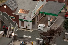 white van and gas staion in british village model train set, Wellington RailEx 2018 (hueymilunz) Tags: nz newzealandtransition newzealand wellington still closeup toy life 365project