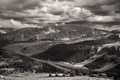 Summer in the Mountains (Peter Weckesser) Tags: trees summer monochrome landscape storm valley mountains us colorado stormclouds landscapes places rockymountainnationalpark clouds estespark unitedstates international things