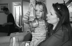 Canon 60D - Katherine & La - Mother and child (Black and White edit) (Gareth Wonfor (TempusVolat)) Tags: picmonkey garethwonfor tempusvolat mrmorodo gareth wonfor tempus volat girl woman icepack brunette katherine kate mono monochrome black white sister eyes