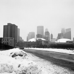 Minneapolis (kaumpphoto) Tags: rolleiflex 120 tlr ilford bw black white gray grey street urban city minneapolis skyline landscape snow winter fog atmosphere building sky tower