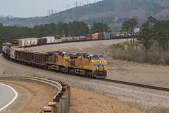 UPs at the Holdout (travisnewman100) Tags: csx train railroad rr freight q542 manifest union pacific ge wa subdivision atlanta division ac44cw es44ac