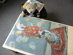 She ain't Japanese! (pefkosmad) Tags: jigsaw puzzle hobby leisure pastime pomegranate used secondhand complete 1000pieces claudemonet lajaponaise painting art fineart kimono fans wife tedricstudmuffin teddy ted bear animal cute cuddly fluffy plush soft stuffed toy