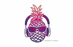 ANANAS SOUNDS, großer Print Patch zum aufbügeln (patchmonkeys) Tags: patch ananas bügelbild style applikation aufbügler streetwear print druck festival design kopf transfer