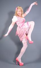 110H3L (klarissakrass) Tags: dirndl highheels stockings legfashion sexylegs pinup pinkdress pinkshoes heels gloves costume crossplay crossdress transgender tranny travestite crossdresser