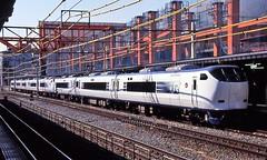 Japan Rail's Haruka streamliner at Kyoto in the mid-1990s (Tangled Bank) Tags: jr japan rail japanese asia asian urban train station pasenger equipment stock kyoto 1990s 90s railway railroad