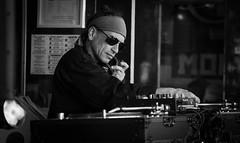 the DJ (ChrisRSouthland (mostly off, traveling & working)) Tags: bw streetphotography streetportrait dj street festival blackandwhite blackwhite monochrome nikond850 nikkor70200mmf40 portrait