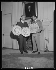 Sheet_Film_04468_News_Bureau_Gordon_Gray_and_Billy_Carmichael_holding_Consolidated_University_Plaques_circa_1951_Scan_1 (unckenanflagler) Tags: williamdonaldcarmichael jr old history unc kenanflagler