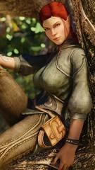 Galaiel - Hangin' Out (DiamondbackVIII) Tags: elder scrolls v skyrim facepaint elf ears galaiel bless 0001 armor ninirim sitting on tree red hair yellow eyes