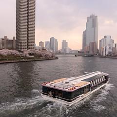 Sumida River in Tokyo (seiji2012) Tags: 月島 隅田川 遊覧船 ボート タワーマンション japan tokyo boat