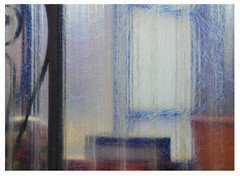 through plastic and glass (mcfcrandall) Tags: abstract glass plastic window shapes blue red squares geometric