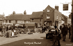 Market Place, Rochford (footstepsphotos) Tags: rochford market place essex car people old photograph vintage historic past early view