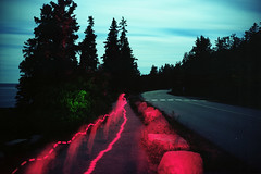 (patrickjoust) Tags: fujica gw690 kodak portra 160 6x9 medium format c41 color negative film cable release tripod long exposure manual focus analog mechanical patrick joust patrickjoust usa us united states north america estados unidos red after dark night maine me new england mt mount desert island flashlight light painting acadia national park atlantic ocean coast coastline road trees forest