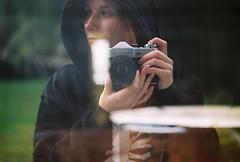 Zenit-B (Film by Emily) Tags: doubleexposure canonae1 colourfilm selfportrait emilyjacksonfilm 35mm 35mmfilm summer shootfilm film analogue zenitb windowreflection