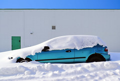 Take Your Shovel To Work Day... (Mister Day) Tags: snow car wall mundane composition winter canada vent wheel abandoned door form shapes blue urban empty