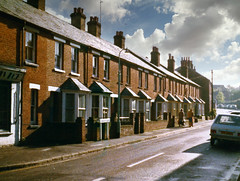 Flaxfield Road (Beardy Vulcan II) Tags: basingstoke flaxfieldroad road street terrace house urban hampshire england autumn fall october 1975 20thcentury