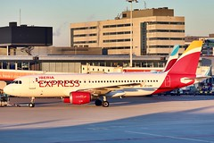 Iberia Express A320 EC-LKH departing AMS/EHAM (Jaws300) Tags: oneworld schiphol schipholairport amsterdamschiphol amsterdamschipholairport iag ewg ew cfm56 iberexpres eham ams ibs i2 eclkh spanish spain iberiaexpress iberia risingsun sun rise rising sunrise goldenlight airliner airways airlines airline air lowcost lowcostcarrier lcc a319 a320 airbus cold light morninglight morning back push pushing pushback pushingback gate terminal stand apron ramp netherlands holland amsterdam europa europe eu eos eurowings daewq