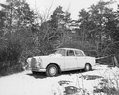 Old Mercedes (Tony Bokeh Larsson) Tags: bronicags1 zenzanonpg5045 kodakhc110 tmax400 old car mercedes film 120fillm vintage blackwhite winter sweden german snow outside outdoor rusty trees