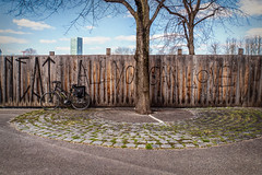 2019 Bike 180: Day 39, March 20 (suzanne~) Tags: 2019bike180 fence bike day38 munich bavaria germany olympicpark olympiapark allyoucanlove