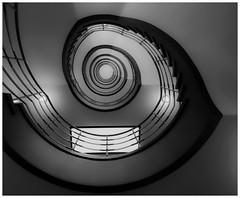 Staircase #3 in b&w (T.Seifer : )) Tags: round light beautiful blackandwhite blackwhite geometry architecture design view staircase lines sprinkenhof hamburg world heritage travel tourism whiteandblack whiteblack nikkor