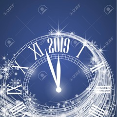 Happy New Year 2019 (eduardues2) Tags: celebration background clock 2019 holiday time new happy party year poster abstract vector greeting banner christmas design decoration card xmas bright celebrate festival illustration light season winter night typography decorative magic festive wallpaper art modern december symbol effect brochure flyer tag occasion calendar lettering happynewyear business number glitter date outdoor