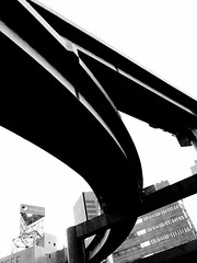 HIGHWAY (DaDa 1127) Tags: highway architecture architectural arch art amazing beautiful beauty city cityscape sky skyline skyscraper japan japanese asia asian black blackandwhite monochrome line geometric symmetry symmetrical tokyo contrast silhouette contrejour light cool