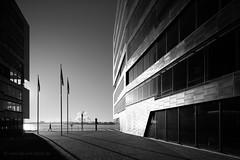 HAMBURG (Kai-Uwe Klauss) Tags: elbe hamburg herbst neumühlen sonne columbia twins altona street backlight gegenlicht schwarzweis blackwhite bw black sunny architektur architecture autumn