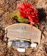 Loved cigs... (Just Back) Tags: tribute dead death muerte tod grave cemetery marker memory remember souviens cig tobacco addiction man guy alive sc carolina rural tomb jesus crown art message plastic tackey flower tacky kershaw lancaster smoking memorial