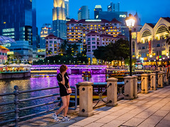 Colourful evening (Thanathip Moolvong) Tags: evening candid blue hour river singapore promanade