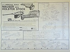 LS – Vintage Plastic Model – 1/1 Scale – German – Mauser Military M96 with Broomhandle – Instruction Manual Front (My Toy Museum) Tags: ls vintage plastic kit gun pistol german mauser m96 holster stock broomhandle broom handle