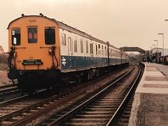 1032, 1002 at Rye with the Hastings Demu Farewell tour of May 1986. (SRDemus) Tags: farewellrailtour marshlink railtour demu station rye 6s 6l 1032 1002