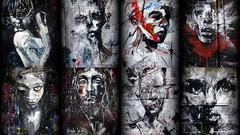 La Rouille à Redon (Thierry LARERE) Tags: france photomontage streetart arturbain graffiti fresque redon larouille femme homme panthère cigarette brique jef visage